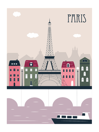 Paris city illustration. Vector