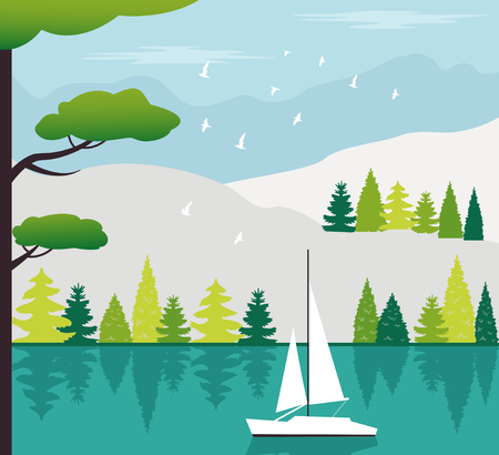 Decoration with lake, forest and mountains.Travel illustration. Vector