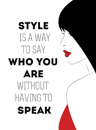 Quotation with a beautiful young woman with long black hair.Vector