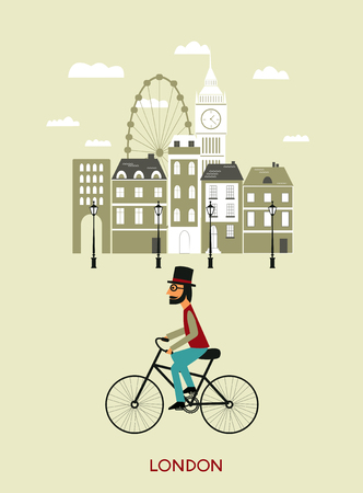 Man riding a bicykle in  London. Vector Illustration