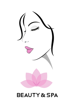 beauty and spa salons with stylish Woman face and lotus flower. Vector