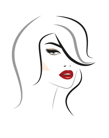Beautiful woman face  for  design Ilustracja