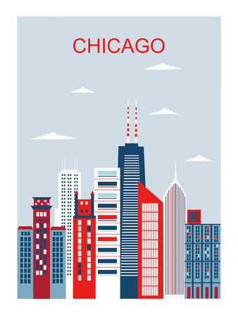 Stylized Chicago city in bright colors. Vector Ilustracja