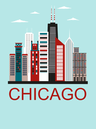 Stylized Chicago city in bright colors. Vector Illustration