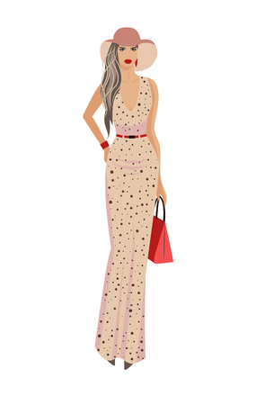 Fashion woman in hat and long summer dress. Vector