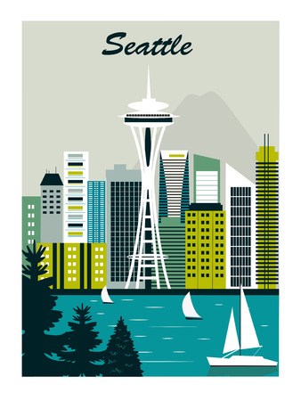 illustration seattle cityscape