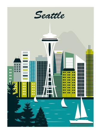 illustration seattle cityscape