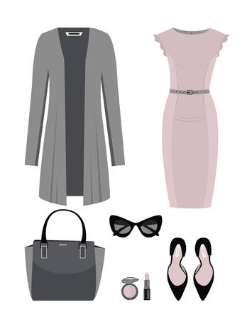 Set of Fashion woman clothes and accessories. Vector