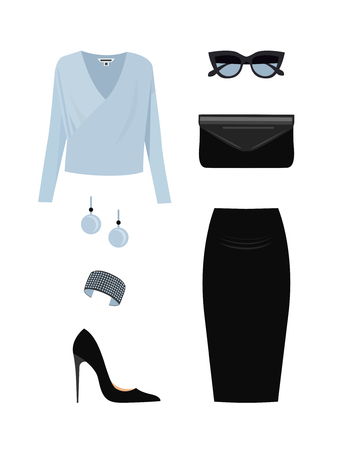 Set of Fashion Casual woman clothes and accessories. Vector