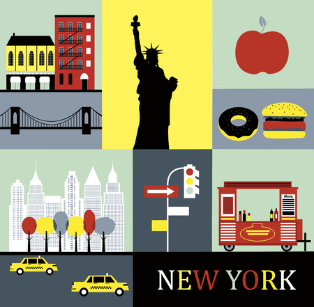 Symbols of New York. Vector