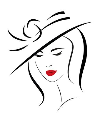 Young Woman with long hair in hat. Vector