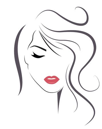 Young Woman with long hair. Vector