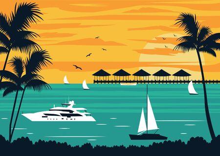 Tropical Beach on the islands.Vector Illustration