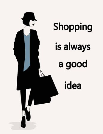 Illustration of Fashion stylish woman with a quote about shopping. Vector Ilustracja