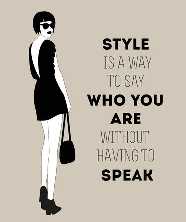 Fashion woman with quote. Vector