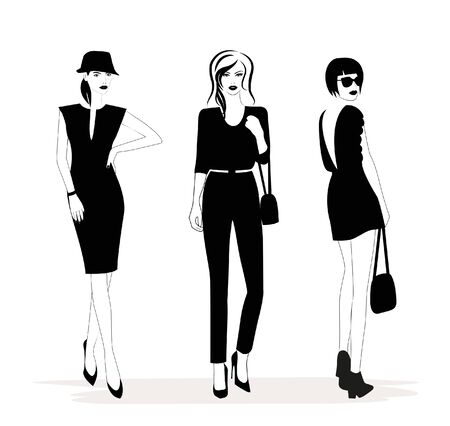Illustration of Fashion stylish women in black and white. Vector Illustration