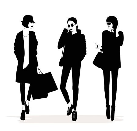 Illustration of Fashion stylish woman with a quote about shopping. Vector Illustration