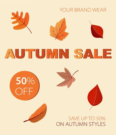 Autumnal discount with leaves. Vector