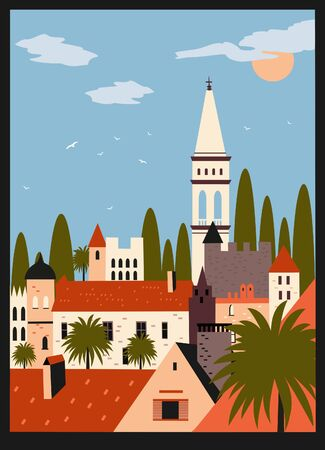 Old city roofs in Europe.Vector