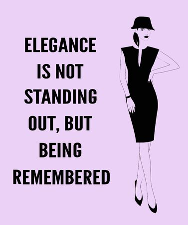 Fashion woman with a quote about elegance. Zdjęcie Seryjne