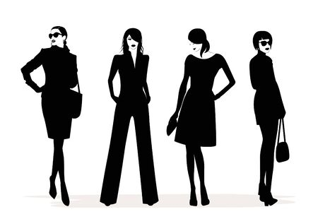 Illustration of Fashion stylish women in black and white.
