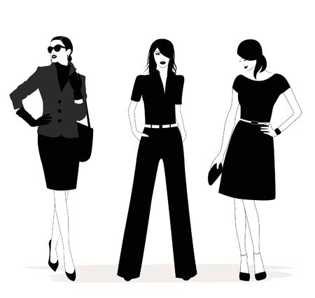 Illustration of Fashion stylish women in black and white.