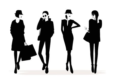 Illustration of Fashion stylish woman with a quote about shopping. 스톡 콘텐츠