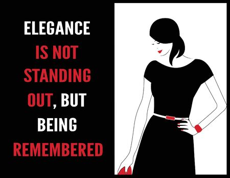 Fashion Woman with a quote about elegance.