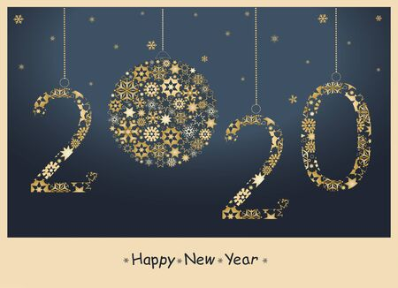 2020  Happy New Year greeting card from golden snowflakes. Vector Ilustracja