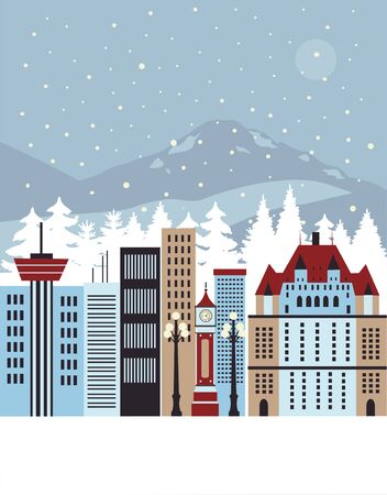 Winter city. Vector