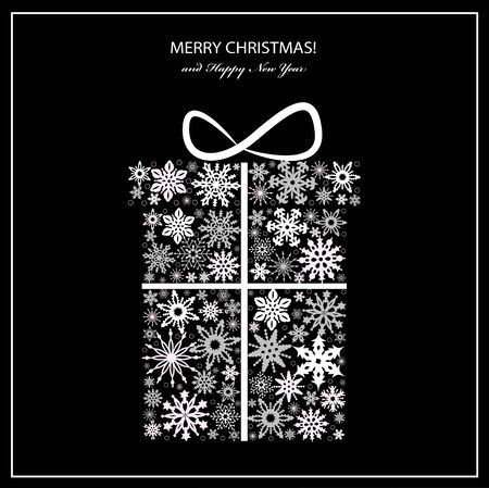 Christmas greeting card with white gift box from snowflakes. Vector