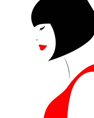 Woman with black hair illustration 일러스트