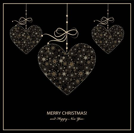 Christmas greeting card with golden hearts from snowflakes. Vector Ilustracja