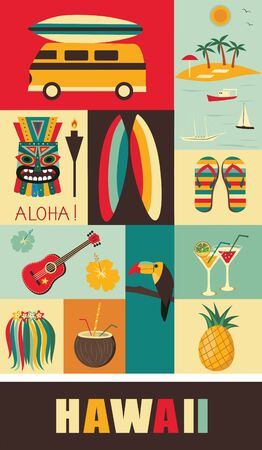 Hawaii Symbols and Icons in bright colors. Vector illustration
