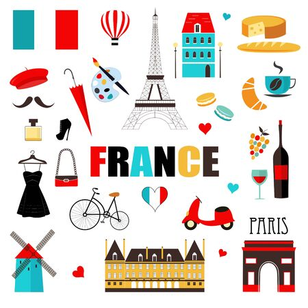 France symbols and icons. France Landmarks. Vector Illustration. 일러스트