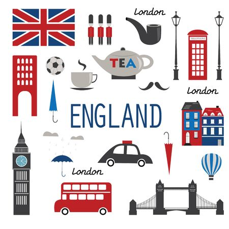 England symbols and icons. Vector illustration