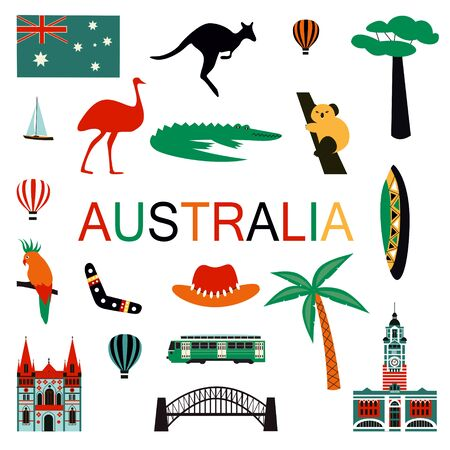 Australia symbols and icons isolated on white. Vector illustration 스톡 콘텐츠