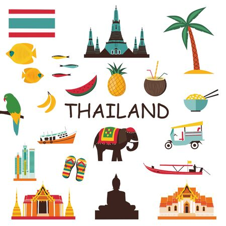 Thailand icons and symbols set. 스톡 콘텐츠