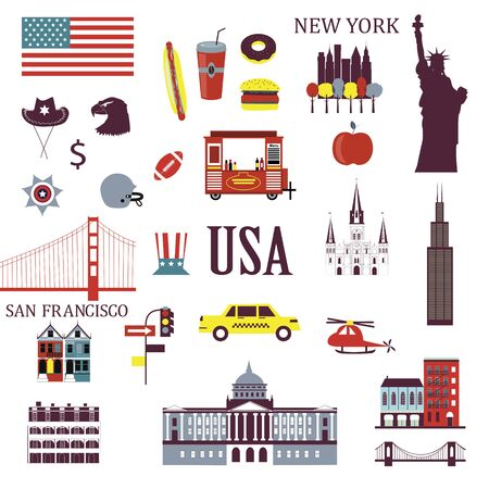 Symbols of usa in flat style. Traditional American attributes. Set of isolated icons on white background.