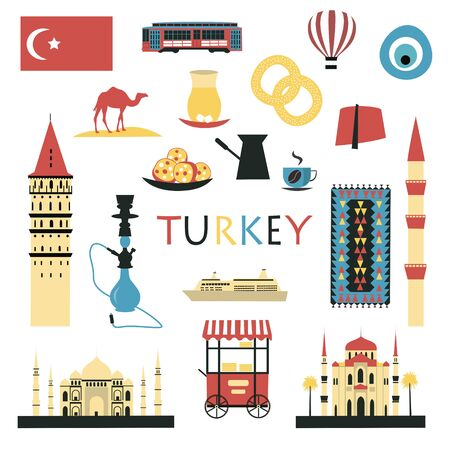 Turkey symbols and icons set