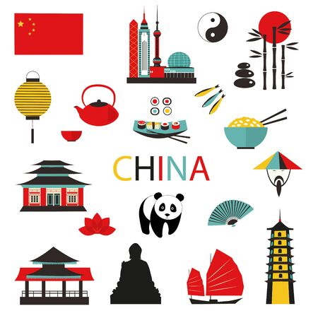 China travel asian traditional culture symbols set isolated on white.