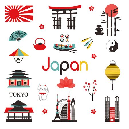Traditional Japanese symbols on white background. Set of Japanese icons in flat style.