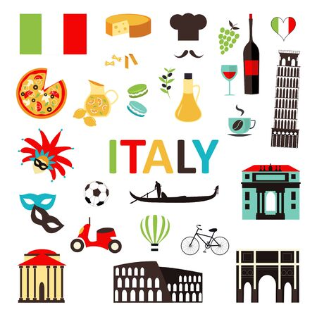 Italy symbols and icons set Ilustracja