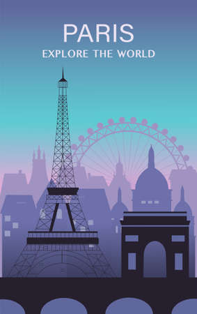 Paris city travel background.