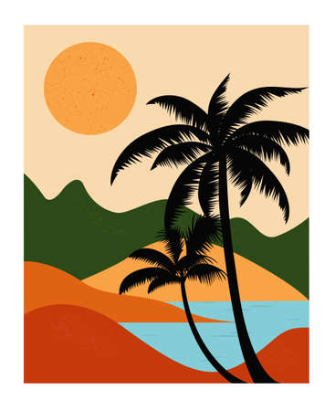Landscape with mountains, sea and palms. Vector illustration Vettoriali