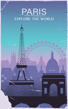 Paris city travel background in old style. Vector illustration