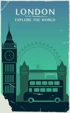 London city England silhouette in old style. Vector illustration