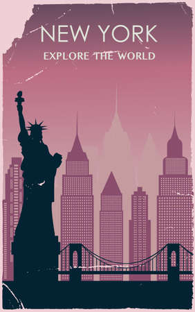 New York city silhouette in old style. Vector illustration