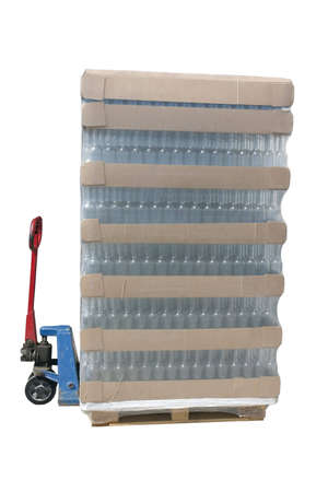 Pallet jack with a pallet of bottles photo