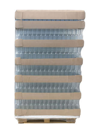 A pallet of bottles wrapped in plastic